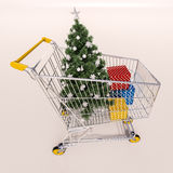 Shopping cart full of purchases in packages and Christamas tree Stock Photo