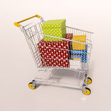 Shopping cart full of purchases in packages Royalty Free Stock Images
