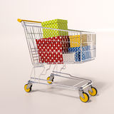 Shopping cart full of purchases in packages Stock Images