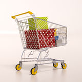Shopping cart full of purchases in packages Stock Photography