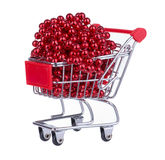 Shopping Cart Full With Red Beads Royalty Free Stock Images