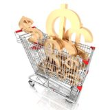 A shopping cart full with sign of american dollar isolated on white background Royalty Free Stock Photography