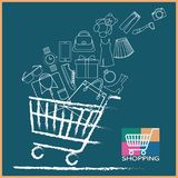 Shopping cart full variety of products. Shopping Cart, Fast-paced. The independent products vector with white outline . is show strokes and not show fills in royalty free illustration