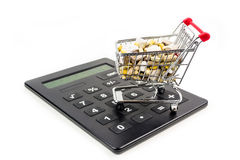 Shopping cart full of vitamin supplements Royalty Free Stock Images