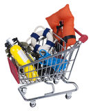 Shopping Cart full of Water Sport Equipment. Shopping cart made of metal holding water sport equipment Royalty Free Stock Image