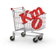 Shopping cart full of zero kilometers symbol Stock Image