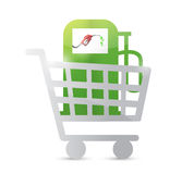 Shopping cart and gas pump illustration design Royalty Free Stock Images
