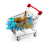 Shopping cart with gemstone beads Royalty Free Stock Photos