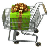 Shopping Cart with Gift box. Shopping Cart with big green Gift box stock illustration