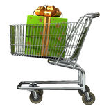 Shopping Cart with Gift box. Shopping Cart with big green Gift box vector illustration