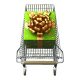 Shopping Cart with Gift box. Shopping Cart with big green Gift box royalty free illustration