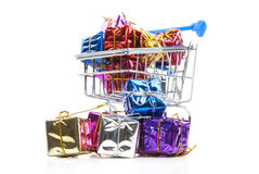 Shopping Cart and gift box Royalty Free Stock Images