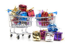 Shopping Cart and gift box Stock Photos