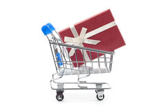 Shopping Cart and gift box Royalty Free Stock Photo