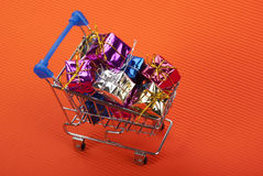 Shopping Cart and gift box Stock Image