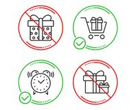 Shopping cart, Gift box and Alarm clock icons set. Surprise package sign. Gift box, Present package, Time. Vector. Do or Stop. Shopping cart, Gift box and Alarm vector illustration