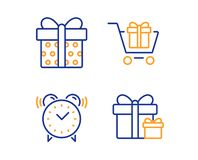 Shopping cart, Gift box and Alarm clock icons set. Surprise package sign. Gift box, Present package, Time. Vector. Shopping cart, Gift box and Alarm clock icons vector illustration