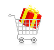 Shopping cart with gift box. Royalty Free Stock Images
