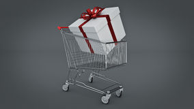 Shopping cart and gift box. Gift box concept. Stock Images