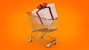 Shopping cart and gift box. Gift box concept. Royalty Free Stock Photo