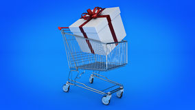Shopping cart and gift box. Gift box concept. Royalty Free Stock Photos