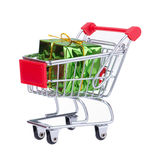 Shopping Cart With Gift Box Stock Photo
