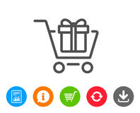 Shopping cart with Gift box line icon. Royalty Free Stock Images