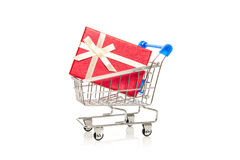 Shopping Cart and gift box Royalty Free Stock Photos