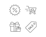 Shopping cart, Gift box and Sale Coupon icons. Stock Photo