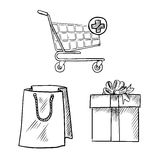Shopping cart, gift box and shopping bag sketches Stock Photos