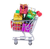 Shopping Cart With Gift Boxes Royalty Free Stock Photo