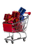 Shopping Cart with gift boxes Stock Image