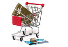 Shopping cart and gift Royalty Free Stock Photo