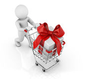 Shopping cart and gift Royalty Free Stock Photos