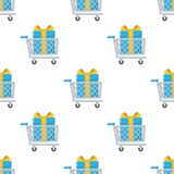 Shopping Cart with Gift Seamless Pattern Stock Images