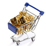 Shopping cart with gift Royalty Free Stock Photography