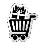 Shopping cart with gift Stock Photo