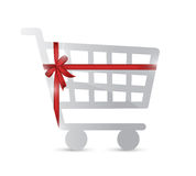 Shopping cart and gift warped illustration design Stock Photo