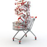Shopping cart and giftboxes Stock Photography
