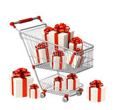 Shopping cart and gifts Stock Photos