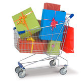Shopping cart with gifts Royalty Free Stock Photo