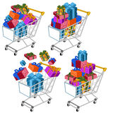 Shopping cart with gifts Stock Images