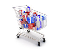 Shopping cart with gifts Royalty Free Stock Images