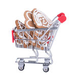 Shopping Cart With Gingerbread Cookies Royalty Free Stock Photo