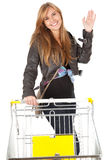 Shopping cart and girl Stock Photography