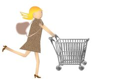 Shopping cart girl Stock Photography