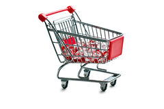 Shopping cart with glass stones. On white background Royalty Free Stock Photos