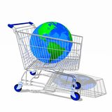 Shopping cart with globe Stock Photo