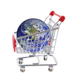 Shopping cart with globe Royalty Free Stock Photo