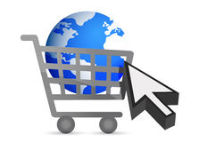 Shopping cart globe and cursor Royalty Free Stock Photography